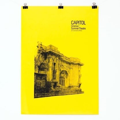 CAPITOL screen-printed 50 x 70 cm poster on bright yellow paper