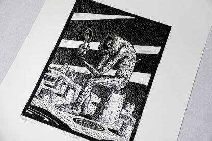 Mimetic Tree linocut print by Maria Bălan