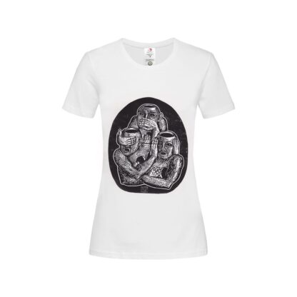 Three Unwise Humans manual linocut printed Women's T-Shirt by Maria Bălan