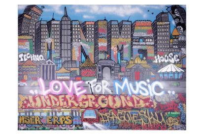 "Digital print reproduction of the ""Minimal - Love for Music / Underground"" painting by ERPS 