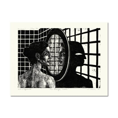 The Stranger Inside by Maria Bălan / signed woodprint