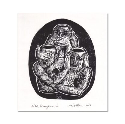Three Unwise Humans by Maria Bălan / signed linoprint