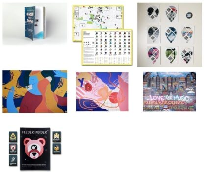 Bundle #3: the Un-hidden book, an A2 map, 8 stickers & pin, 3 feeder sound digital prints, feeder insider #02 booklet