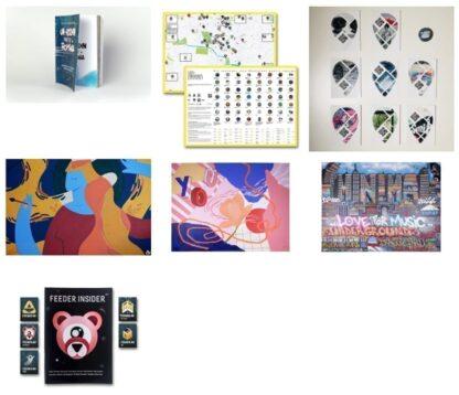 Bundle #3: the Un-hidden book, an A2 map, 8 stickers & pin, 3 feeder sound digital prints, feeder insider #02 booklet