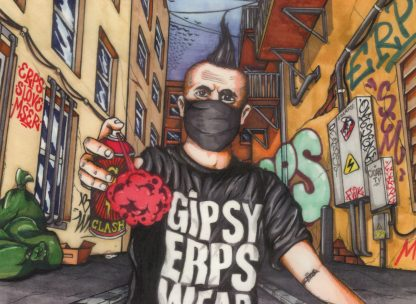 Digital print by Nesk, featuring and signed by Romanian graffiti artist ERPS