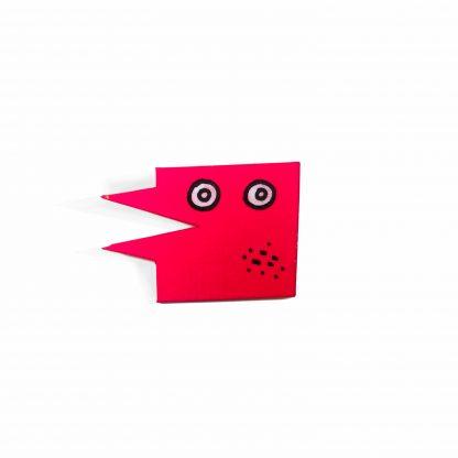 Pisica Pătrată - painted wooden pin pink