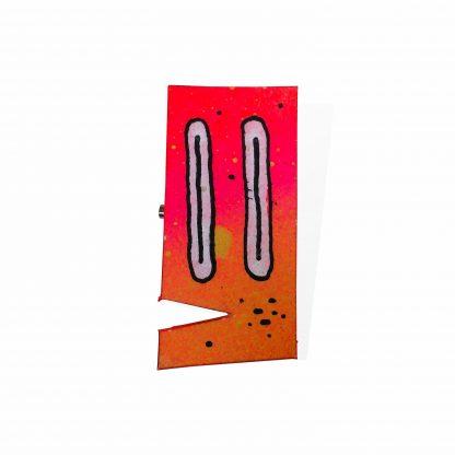 Pisica Pătrată - painted wooden pin orange gradient