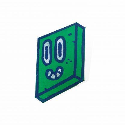 Pisica Pătrată - painted wooden pin green