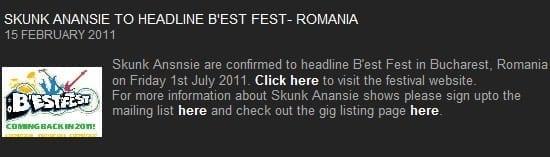 B'estFest revine in 2011 cu Skunk Anansie confirmati pt 1 iulie