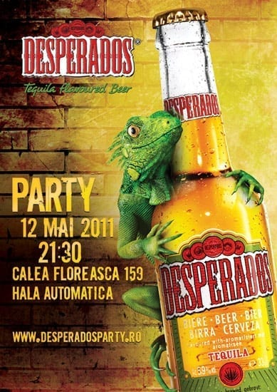 2 invitatii duble la party-ul de lansare a berii DESPERADOS