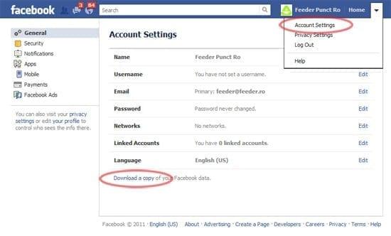 Stiati ca puteti downloada intr-o arhiva tot ce aveti pe facebook?