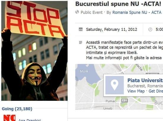 Peste 25.000 de confirmari la protestul anti-ACTA de la Bucuresti