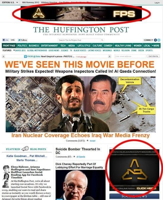 The Huffington Post - coverstory despre razboiul nuclear si bannere la jocul Nuclear Dawn
