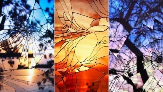Efect de vitraliu prin oglinzi crăpate
