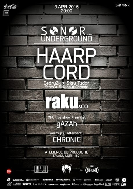 SONOR in Underground w/ HAARP CORD, raku & co, gAZAh, Chronic @ Atelierul de Producție