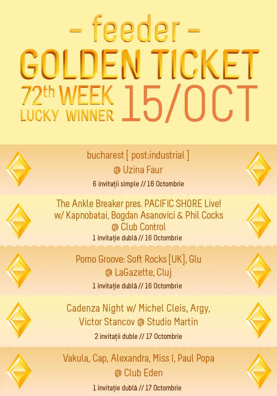 Golden Ticket W72 - events