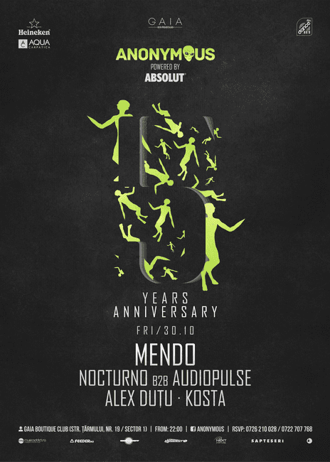 Anonymous 5 Years Anniversary w/ Mendo @ Gaia Boutique Club