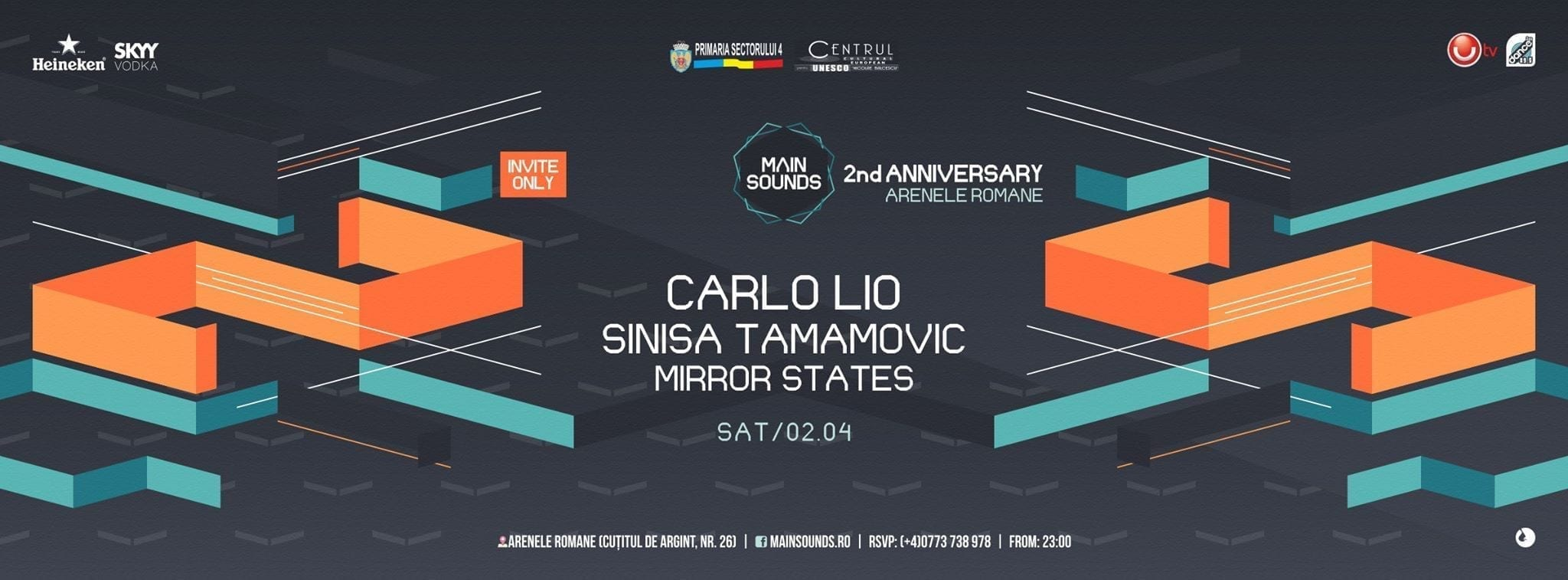 2 years of Main Sounds w/ Carlo Rio, Sinisa Tamamovic, Mirror States @ Arenele Romane