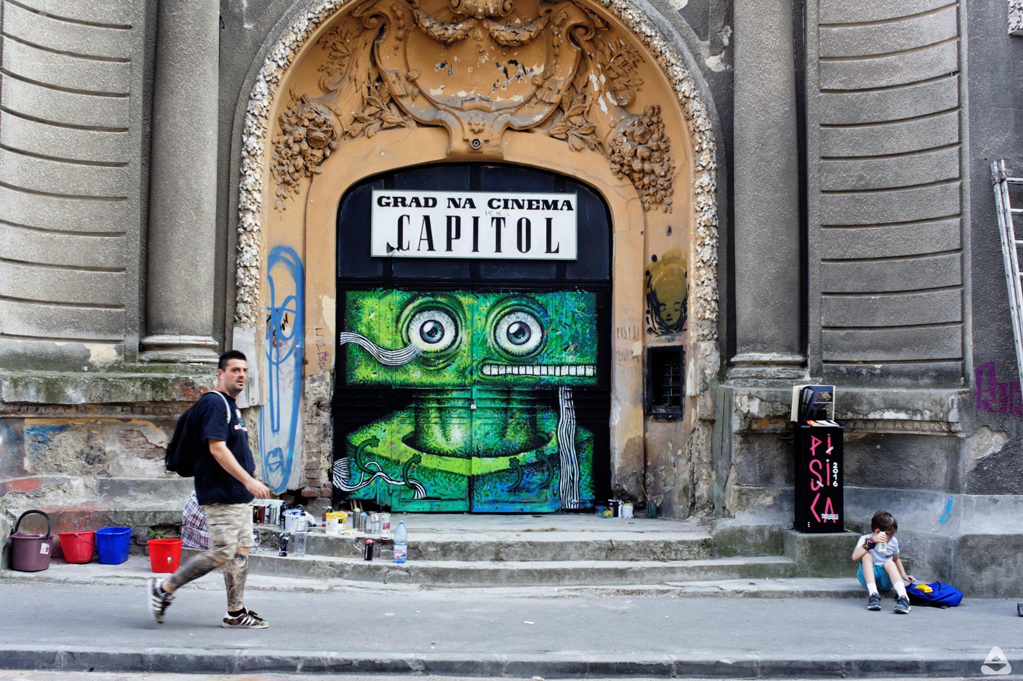 Pisica Pătrată @ Tatrul de vară Capitol, streetart mural, graffiti