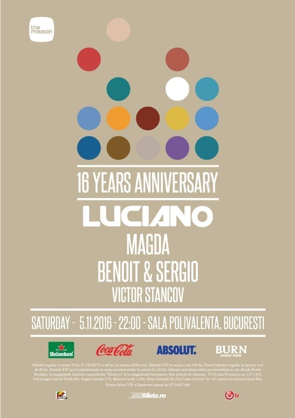 The Mission 16 YRS Anniversary w/ Luciano, Magda, Benoit & Sergio, Victor Stancov @ Sala Polivalentă