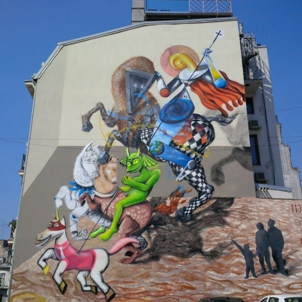 IRLO, Obie Platon, KERO ZEN, mural Piața Sf Gheorghe, 2015