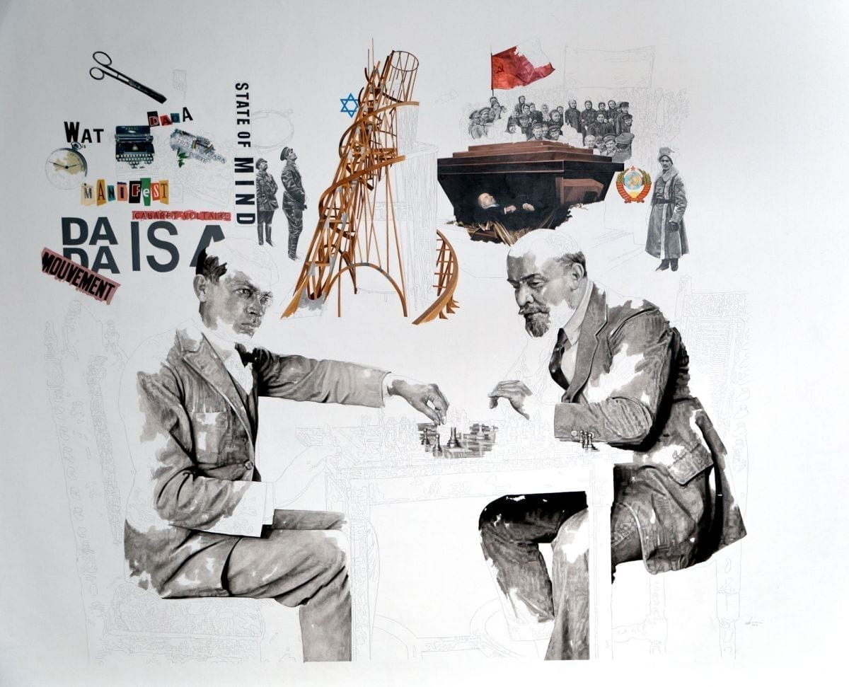 Daniel-Brici-Tzara-Lenin-Play-Chess-2016-mixed-media-on-paper-190x160-cm
