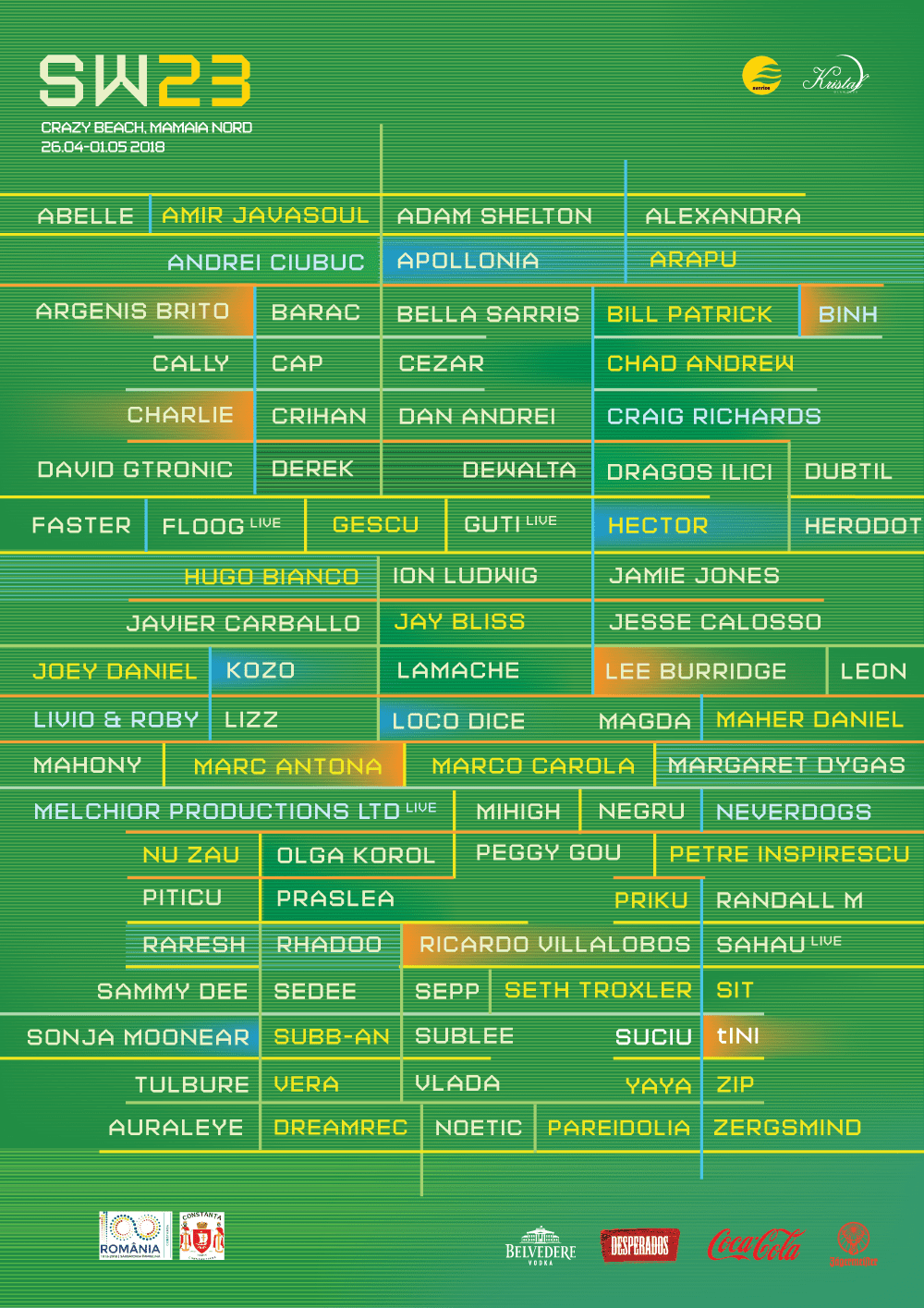 Sunwaves Festival: SW23 Complete Line-up and time table
