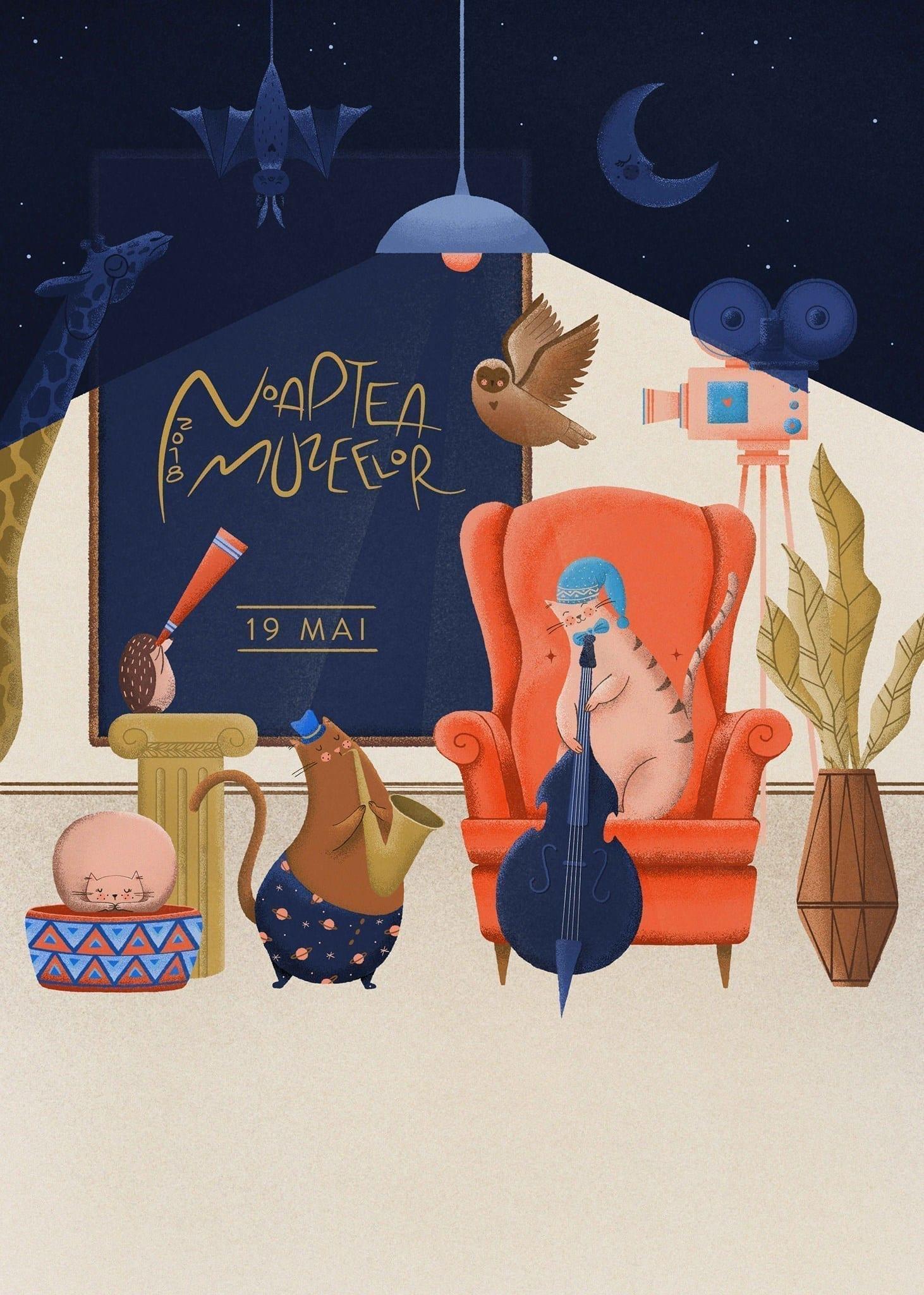 Noaptea Muzeelor 2018 ilustratie realizat de Mura