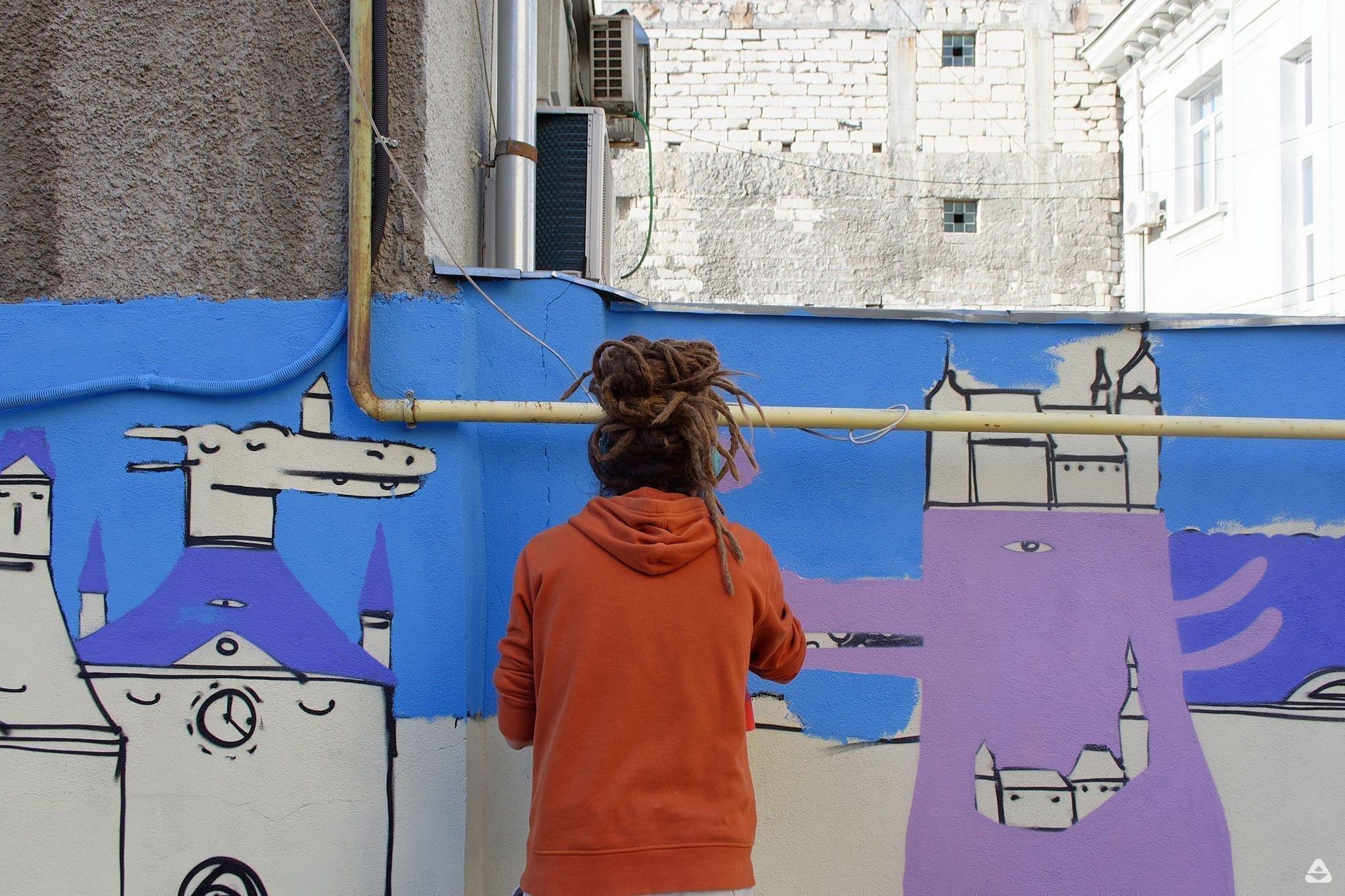 Un-hidden Bucharest Lucian Nita - KSELEQOQYNQYSHY mural Facultatea de Sociologie