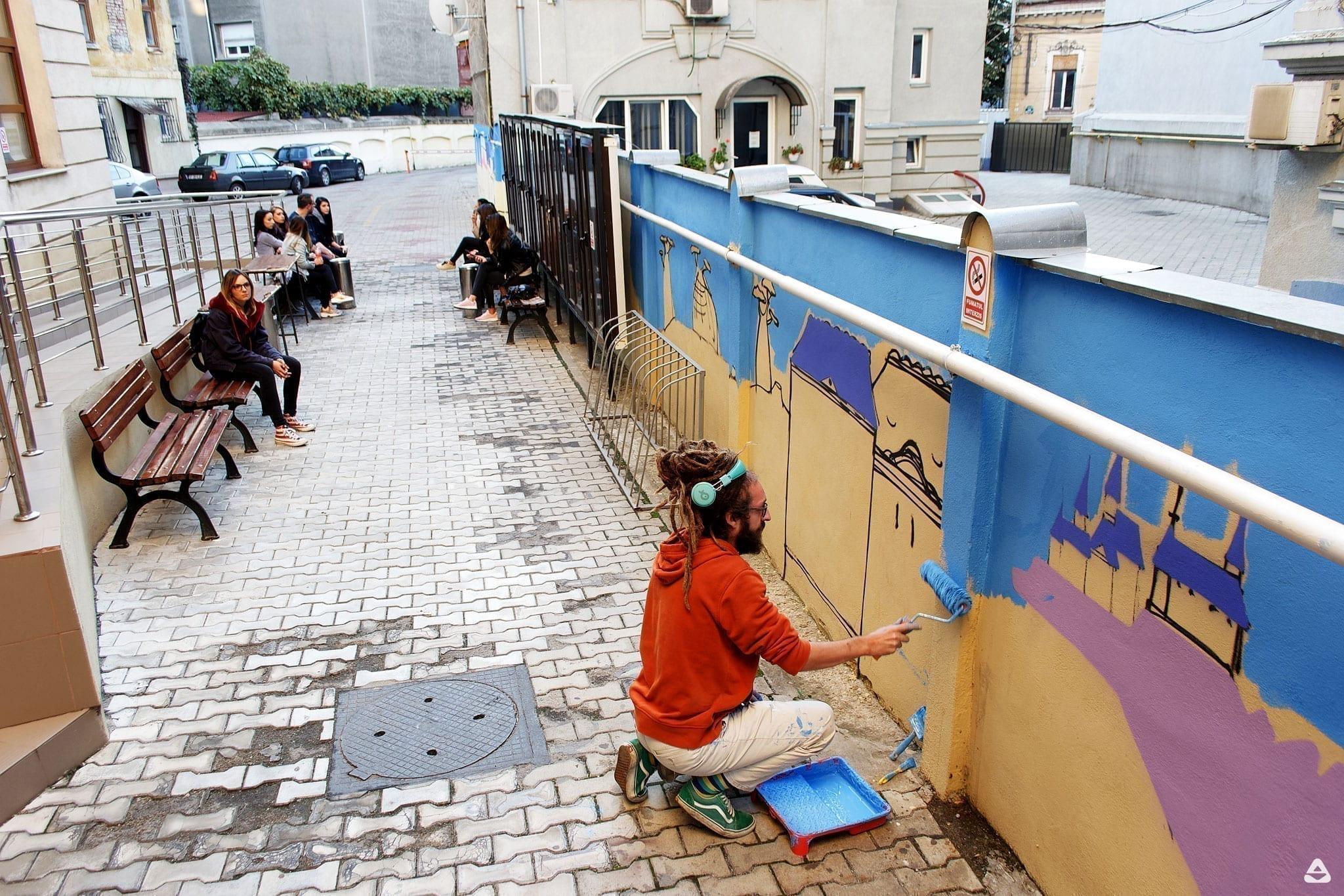 Lucian Niță – KSELEQOQYNQYSHY Un-hidden Bucharest Lucian Nita - KSELEQOQYNQYSHY mural Facultatea de Sociologie