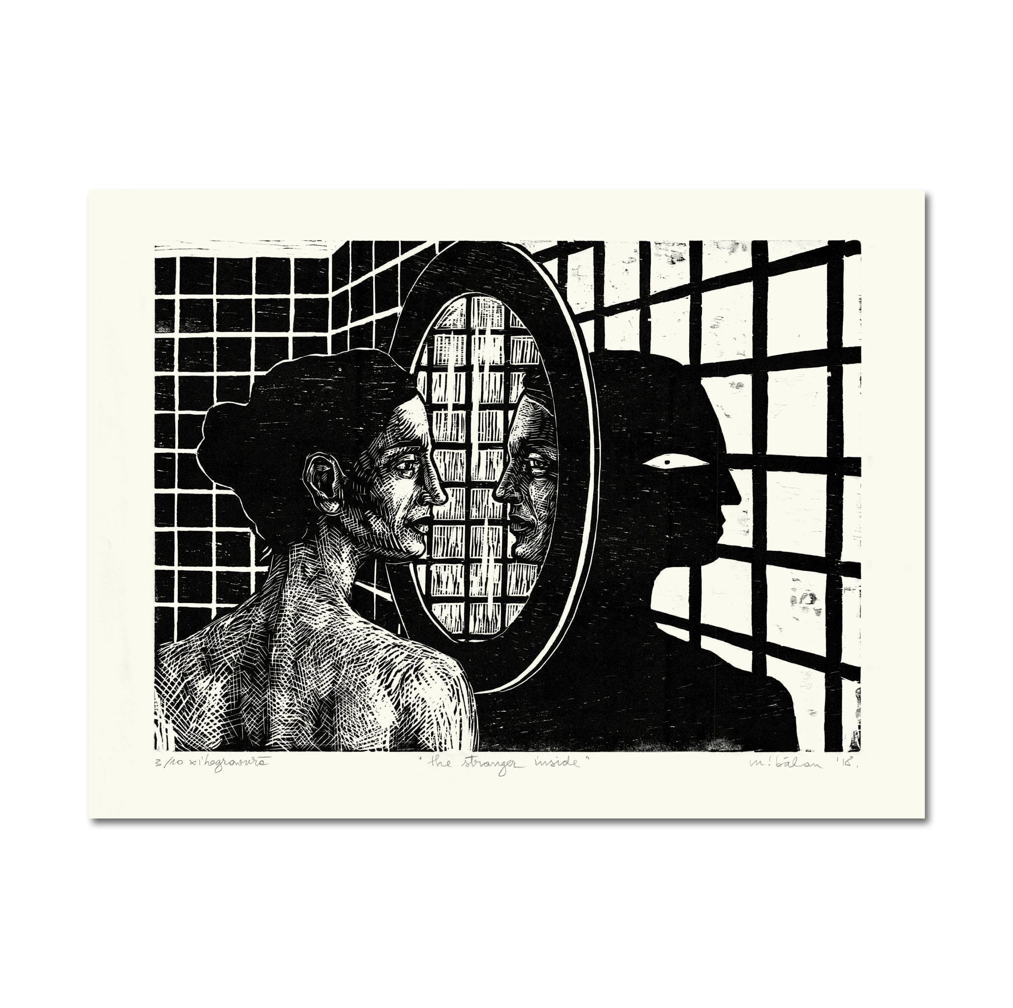 """The Stranger Inside"" by Maria Bălan / signed woodprint"
