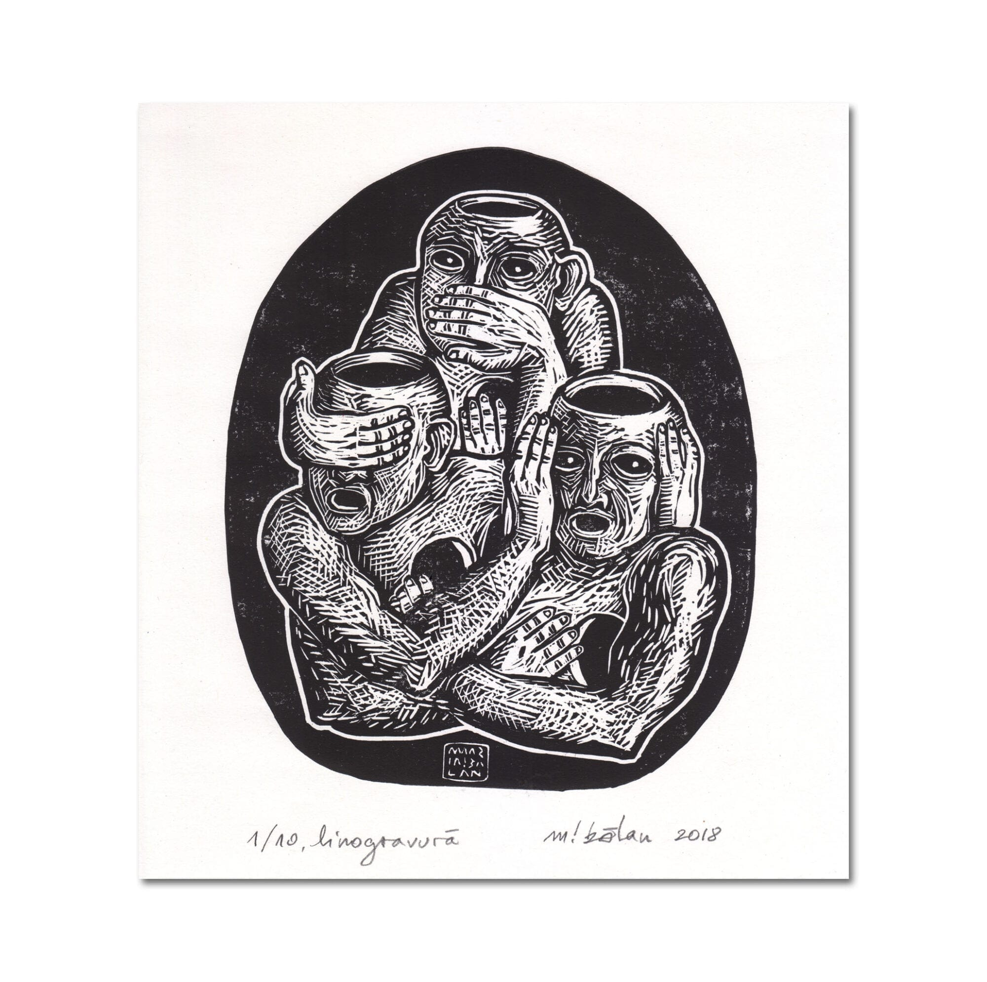 """Three Unwise Humans"" by Maria Bălan / signed linoprint"