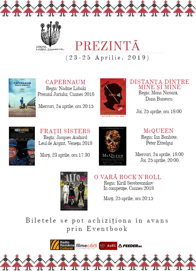 Program Cinema Muzeul Țăranului 22-29 Aprilie, 2019!