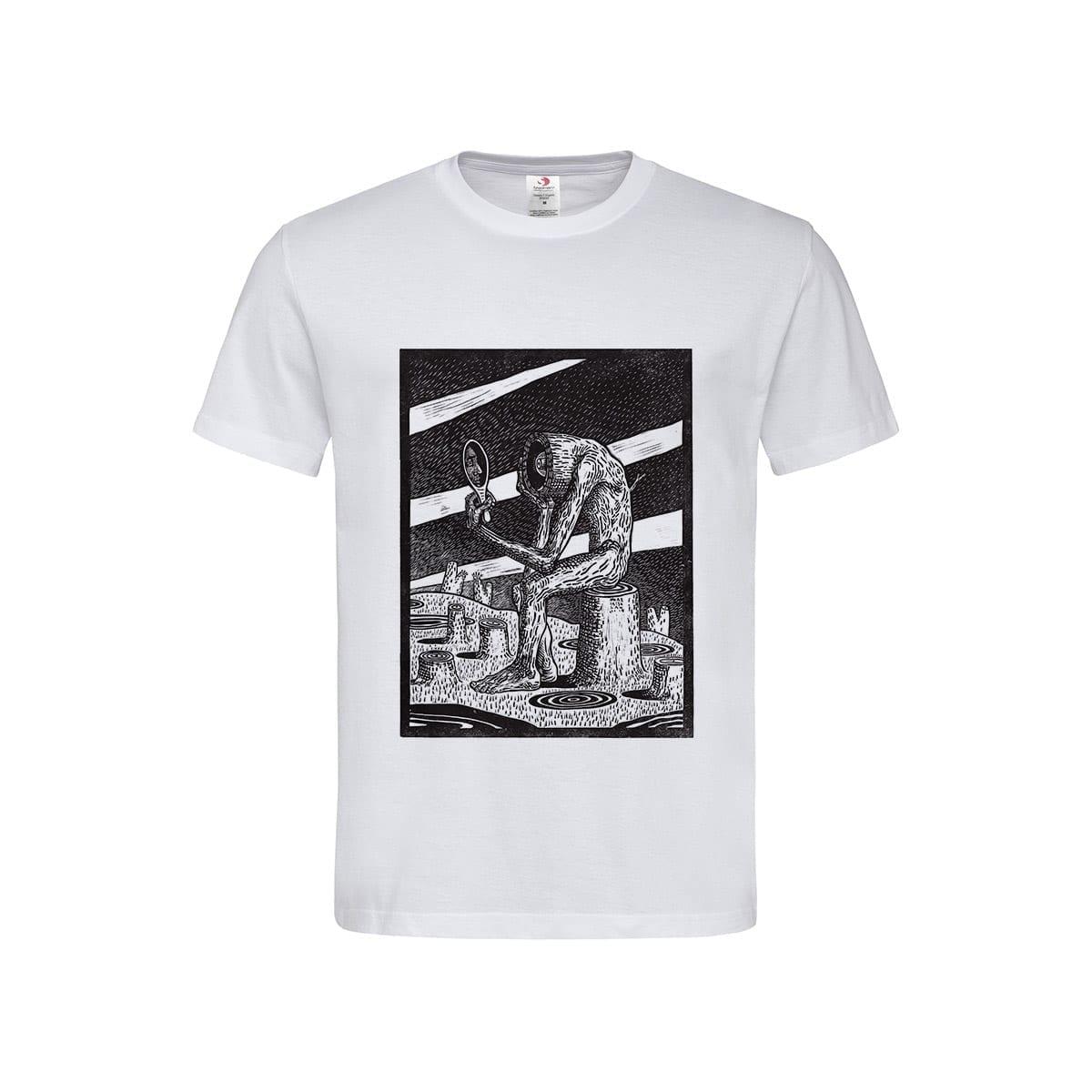 The Mimetic Tree manual linocut printed Men's T-Shirt by Maria Bălan