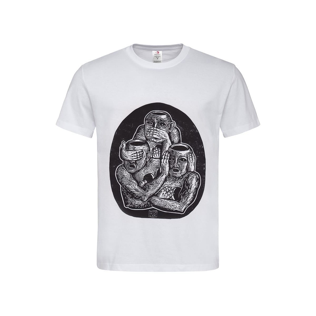 Three Unwise Humans manual linocut printed Men's T-Shirt by Maria Bălan