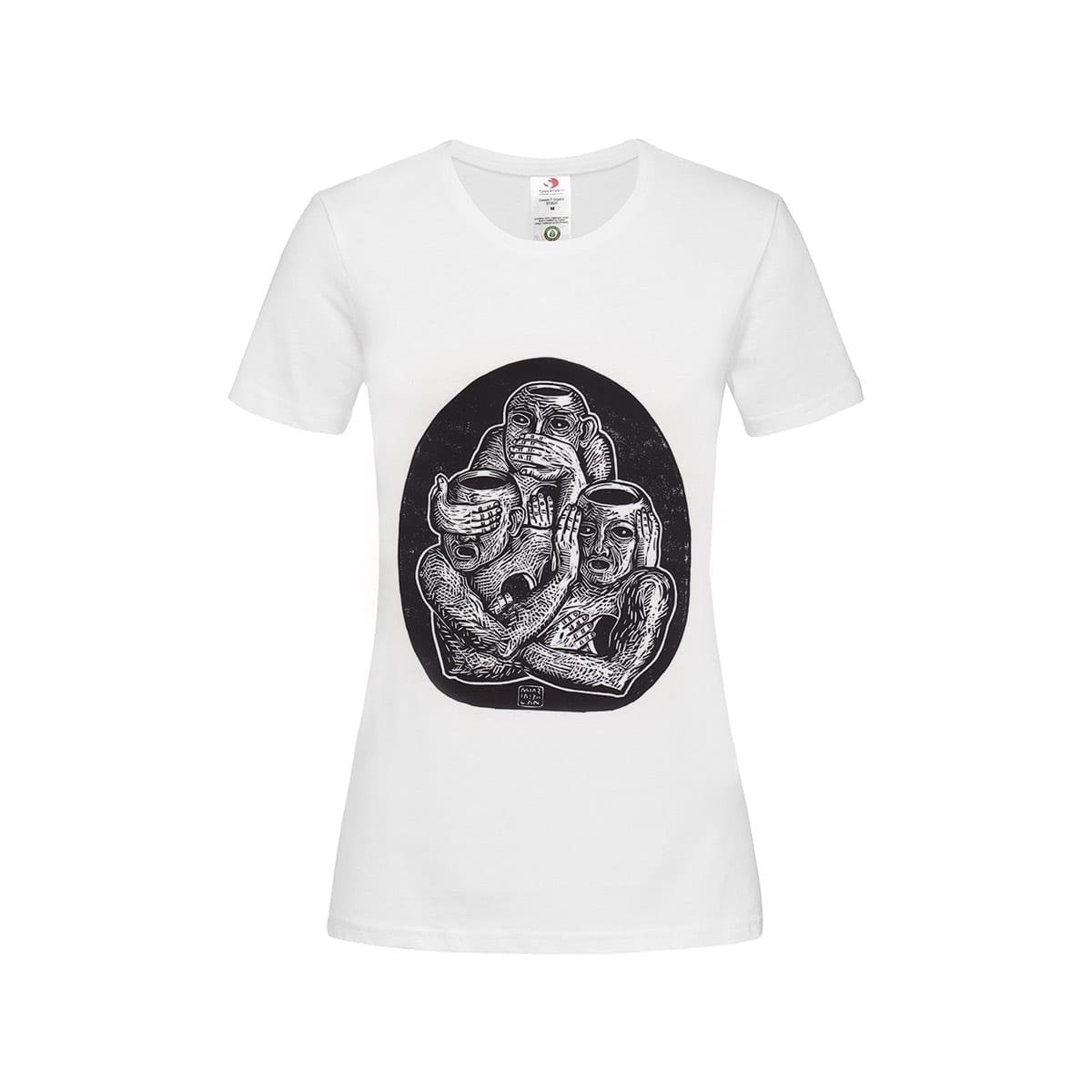 Three Unwise Humans manual linocut printed Womens' T-Shirt by Maria Bălan