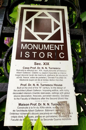 Casa Prof Dr NN Turnescu_placuta monumentului istoric