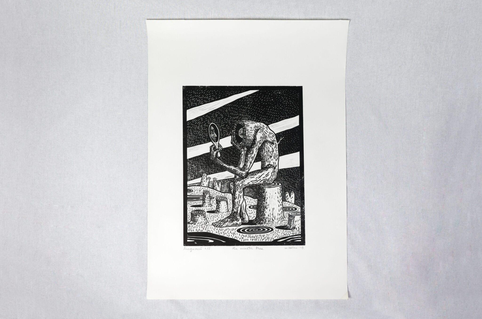Maria Bălan - Mimetic Tree linocut print