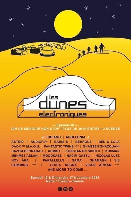 LES DUNES ELECTRONIQUES 2019 Iconic festival returns to Tunisia's Star Wars location w/new date ft. Luciano, Apollonia, Nicolas Lutz + more