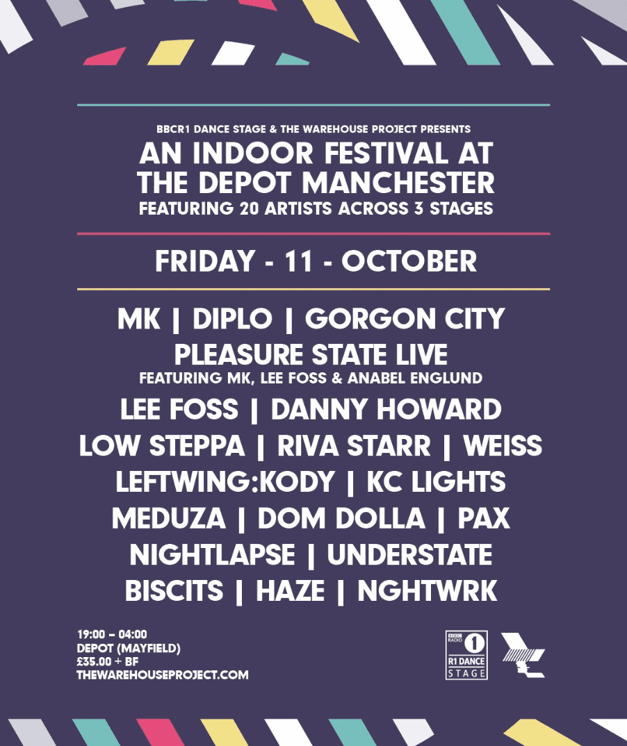 BBC R1 Dance Stage & The Warehouse Project present an Indoor Festival at Depot, Mayfield featuring Mk, Diplo & Gorgon City