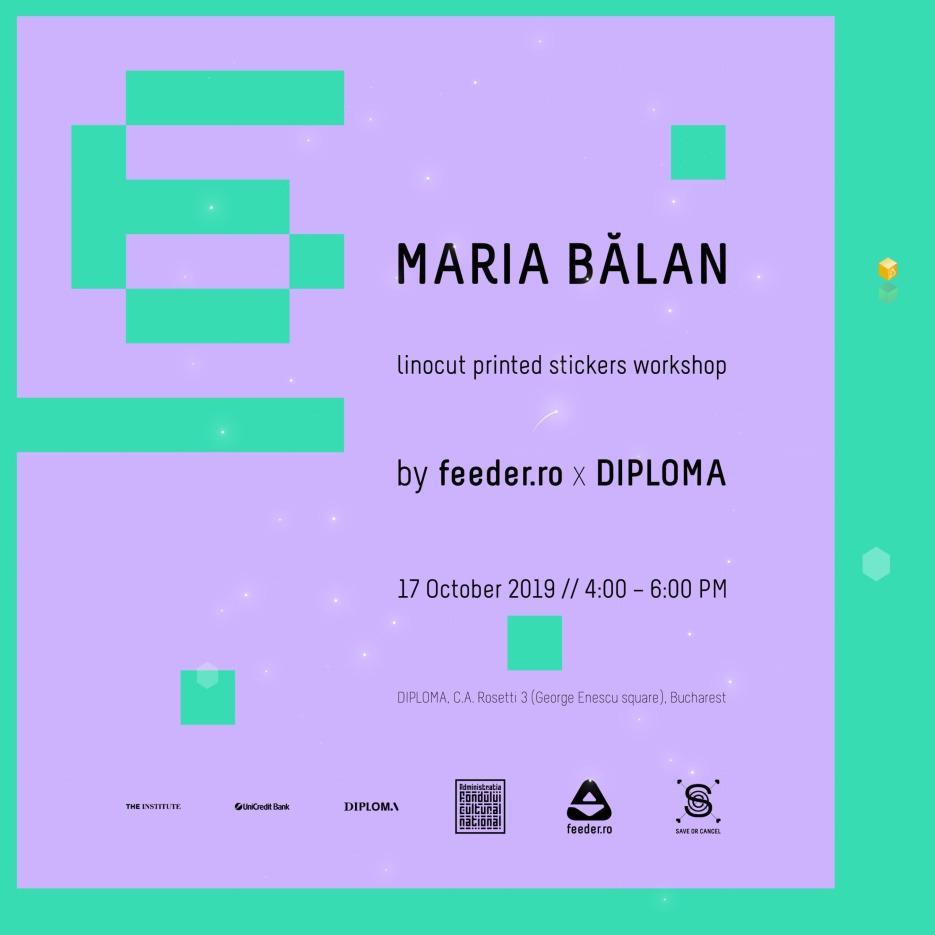 Maria Bălan - linocut printed stickers workshop by feeder.ro x DIPLOMA