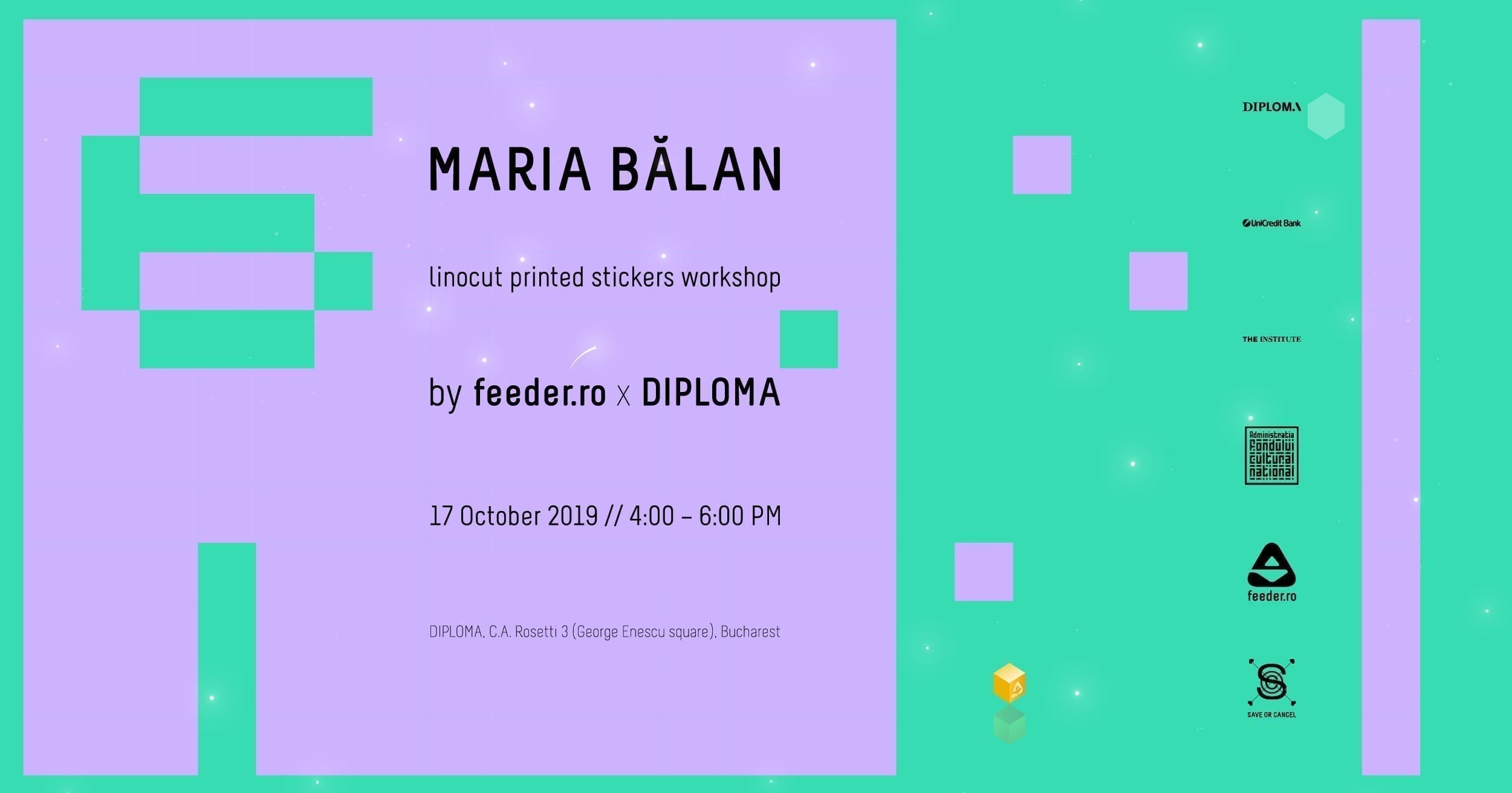Maria Bălan - linocut printed stickers workshop by feeder.ro x DIPLOMA