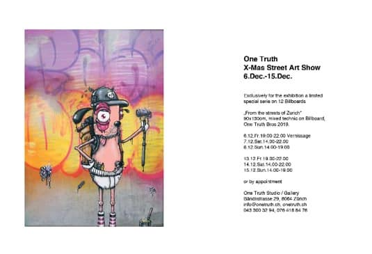 Onetruth x-mas Street Art show 6.dec-15.dec.