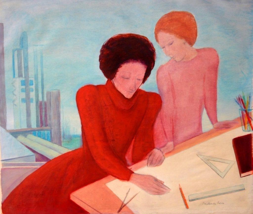 Michaela Nica Craciun - Proiectante 1976 guasa si creion pe hartie 472x56cm