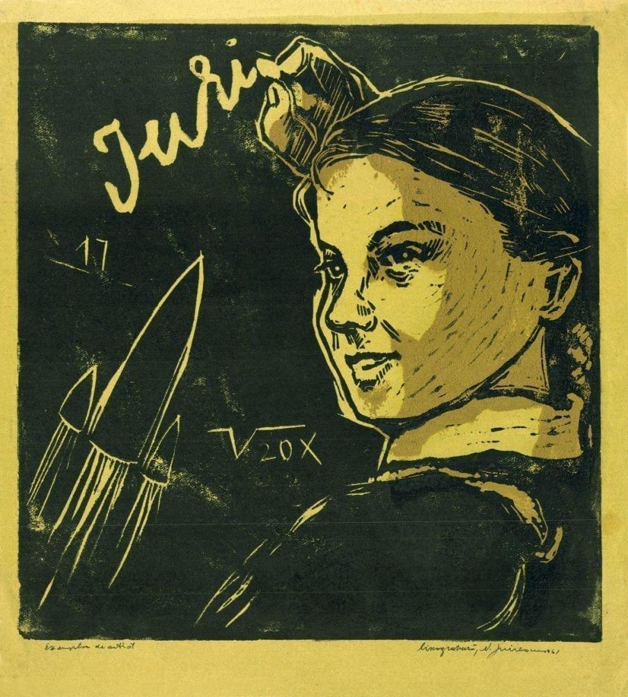 Dreptul și accesul la cultură: repere din istoria culturii (de la Constituția României din 1923 până în zilele noastre) Nicolae Spirescu - The First Fligh of Gagarin 1961 linocut 34.5x31.5 cm