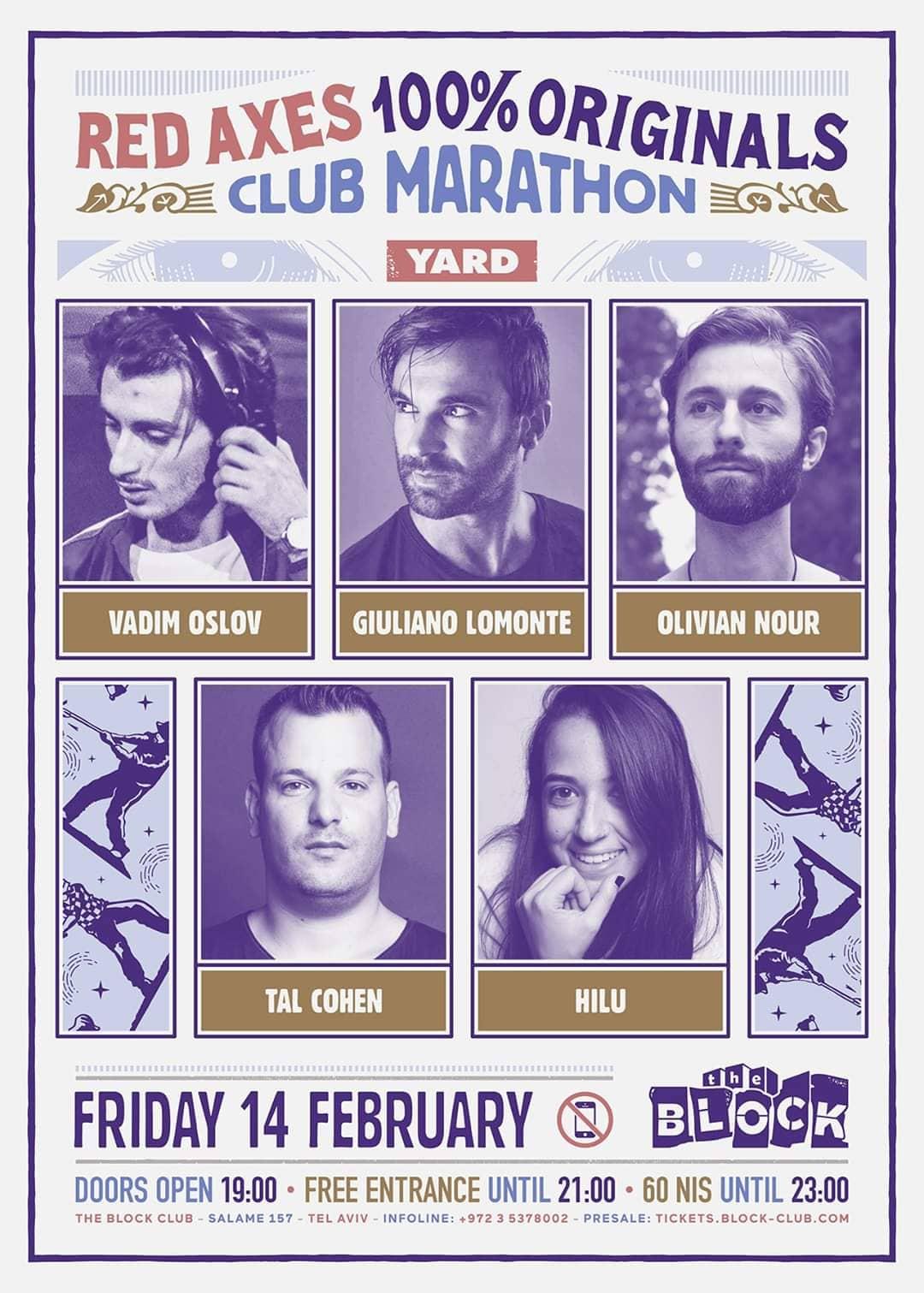 100% Originals Club Marathon, Friday February 14 at The Block