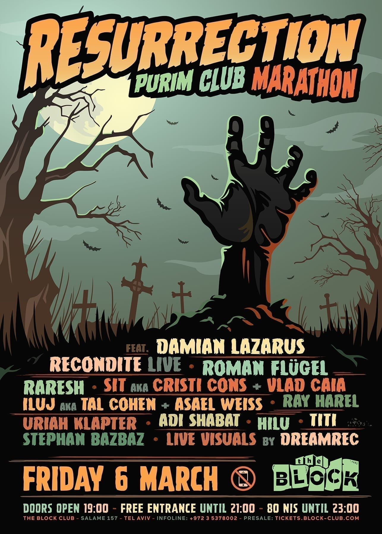 Resurrection - Purim Club Marathon at The Block