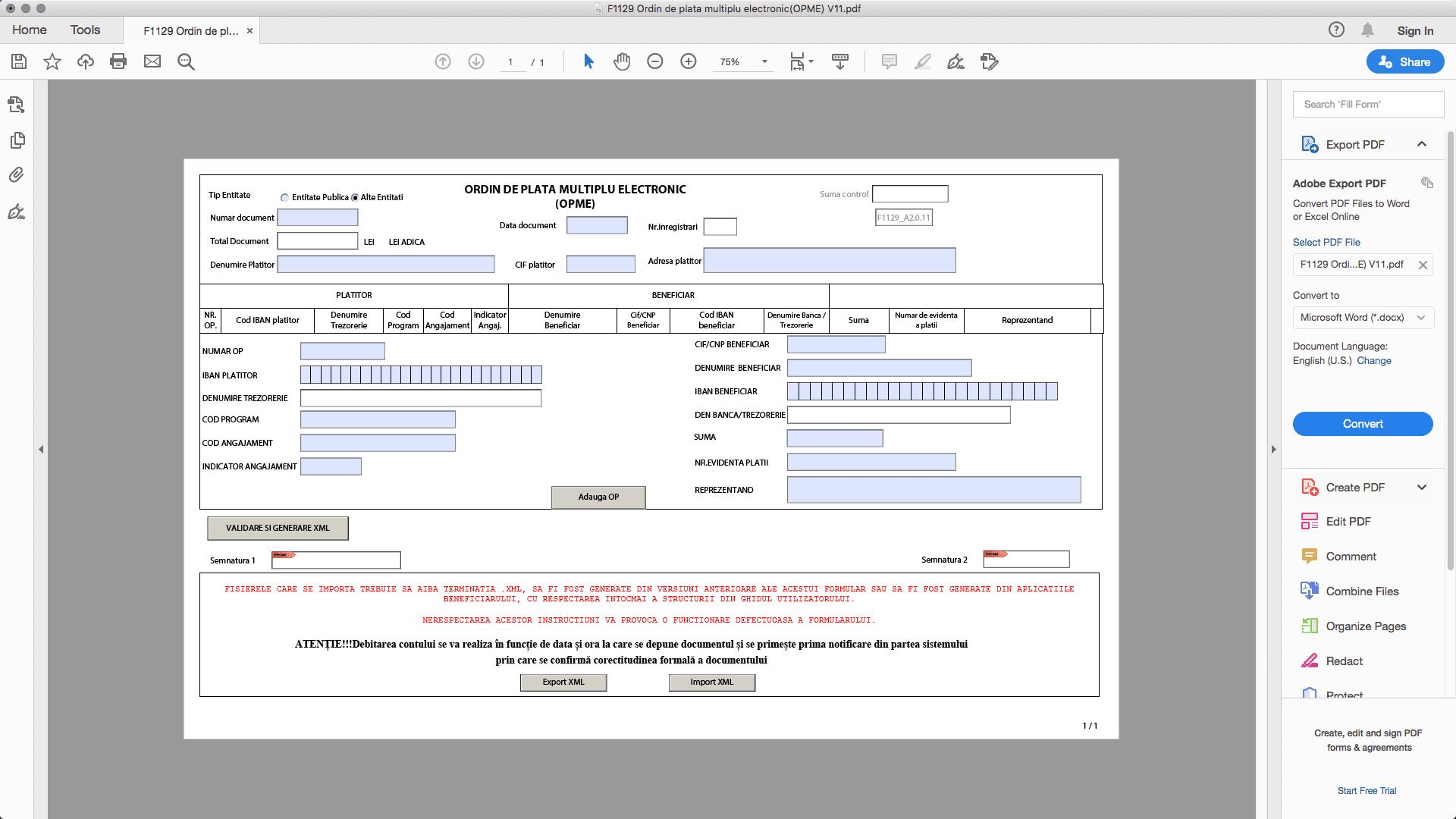 Descarcă formularul și află cum faci un ordin de plată electronic (OPME) pentru transfer online din contul de trezorerie