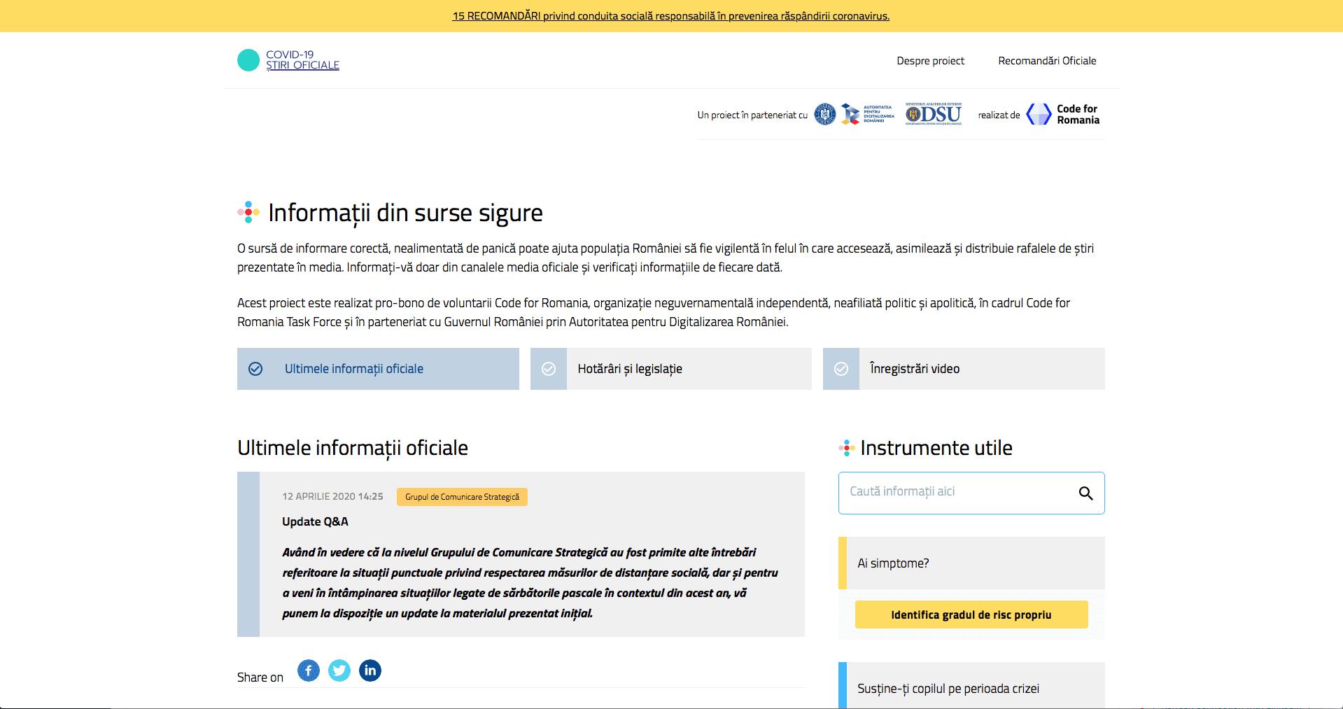 stirioficiale.ro: Update Q&A / Grupul de Comunicare Strategică