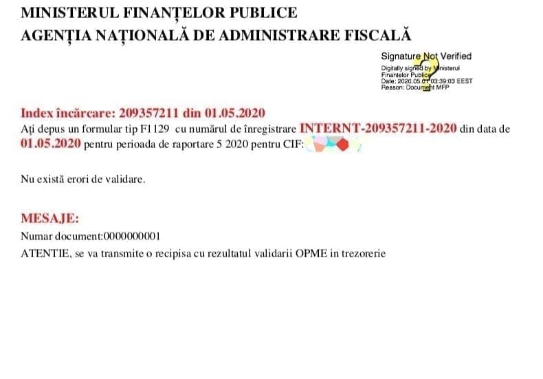 Recipisa OPME ordin de plata trezorerie ANAF SPV / Mesaje